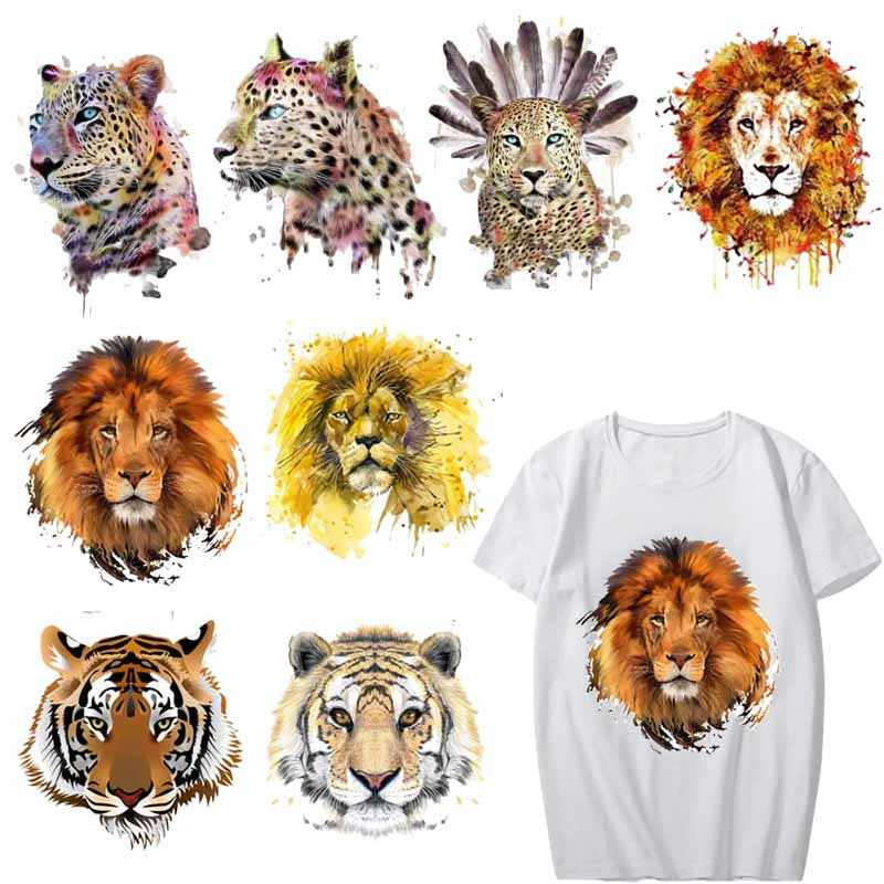 Iron on Tiger Lion Leopard Patches for Clothing DIY T-shirt Applique Heat Transfers Vinyl Stickers for Clothes Thermal Press