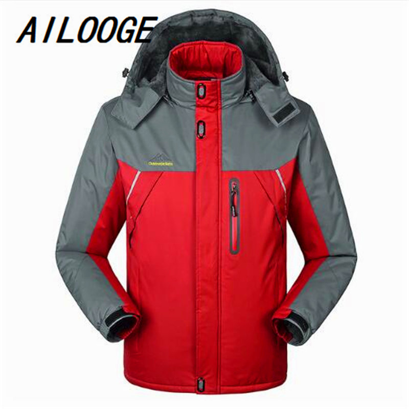 AILOOGE Hombre -30 C FIT Plus Thick Velvet Down & Parka Coat 6XL 7XL 8XL 9XL 2017 Warm Winter Jacket Men Waterproof Windproof