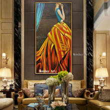 Frameless oil painting wall decoration picture handpainted sexy women on canvas for home decor modern lady