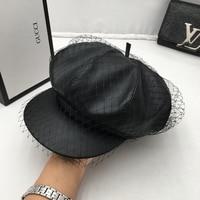 Ladies fashion hat fur cap children joker net yarn quality leather cap newsboy cap octagonal cap