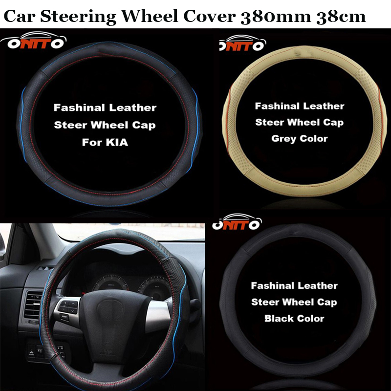 380mm for kia Rio Ceed Sportage Soul Cerato K2 k3 k5 Soren accessories Faux Leather Car Steering Wheel Cover Auto Steer Wheels