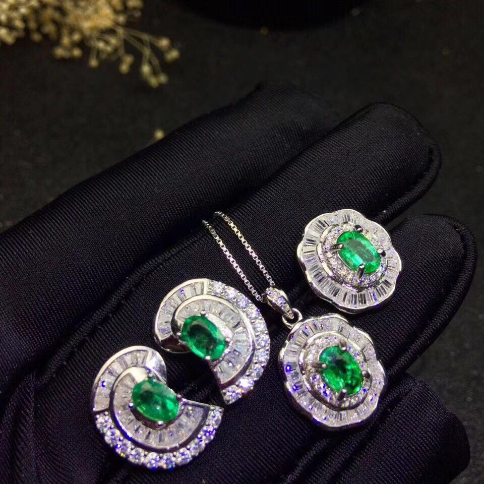 Classic emerald jewelry set for evening party real natural emerald earrings ring pendant set 925 silver emerald fine jewelry