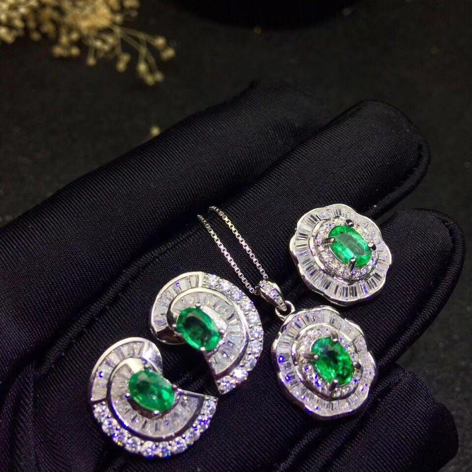 Ensemble de bijoux émeraude classique pour soirée boucles d'oreilles véritable émeraude naturelle bague pendentif ensemble 925 bijoux fins émeraude en argent