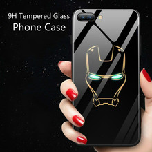 Marvel Batman Superman Spiderman Luminous Glass Case For iphone 7 8 6 6s Plus X Xs Max Xr Avengers Black Panther iron Man Cover