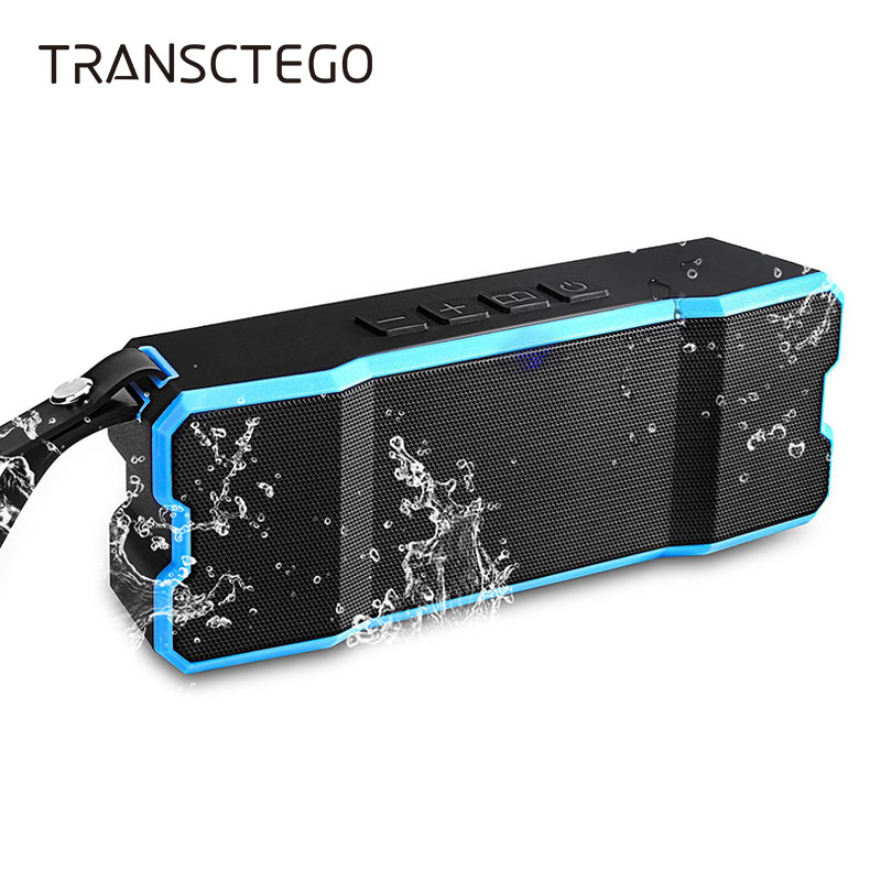 TRANSCTEGO Wireless bluetooth speaker USB Outdoor Portable Waterproof IPX6 Mini SD Card For Biking Hiking stereo Music surround