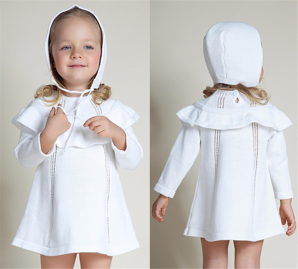 Girls Kids Sweater Dresses Winter Knit Toddler Infant Birthday Party Wear White A-Line Newborn Baby Princess Dress With Hat Sets cable knit a line sweater dress