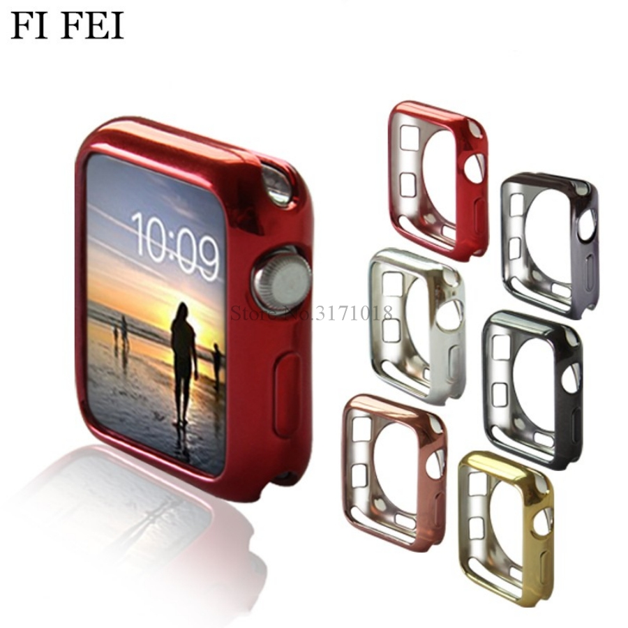 FI FEI Ultra-thin Soft tpu Watch Case For Apple Watch Series 1/2/3 38/42mm Cover Case perfect match bumper Shell 38mm 42mm series 1 2 3 soft silicone case for apple watch cover 38mm 42mm fashion plated tpu protective cover for iwatch