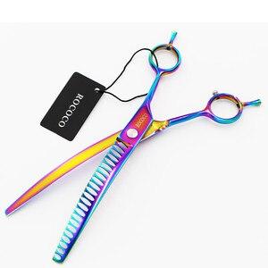 Image 4 - 8 polegada arco íris animal de estimação para baixo curvo tubarão desbaste tesoura pet grooming clipper fornecedor cão gato cabeleireiro clipper