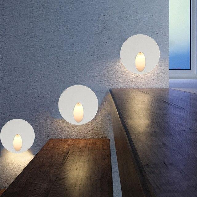 eclairage led escalier interieur 10 pièces applique LED escalier lumière aluminium rond 3 W encastré LED  étape lampe voie mur