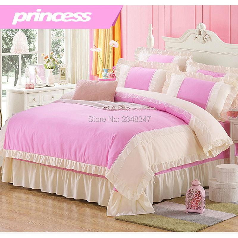 Pur coton doux princesse Rose dentelle drapé 4 Pc complet/reine taille lit couette/couette/Doona housse ensemble & drap solide violet bleu Rose rouge - 2