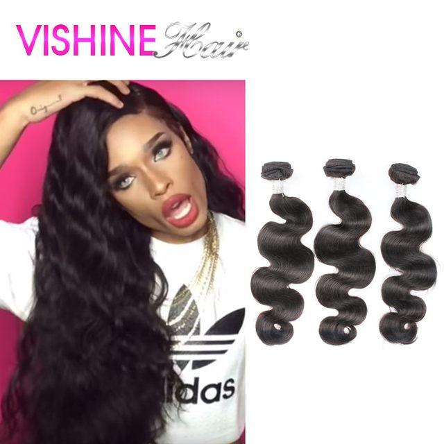 Vishine Unprocessed 7A Peruvian Virgin Hair Body Wave 3bundles Peruvian Body Wave Human Hair Weave Rosa Hair Product New Arrival