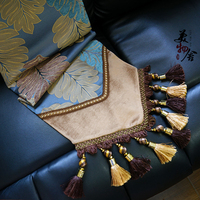 Rushed Handmade Europe Blue Banana Leaf Style Wedding Table Runner Traditional Magnolia Embroidery Home Hotel Villa