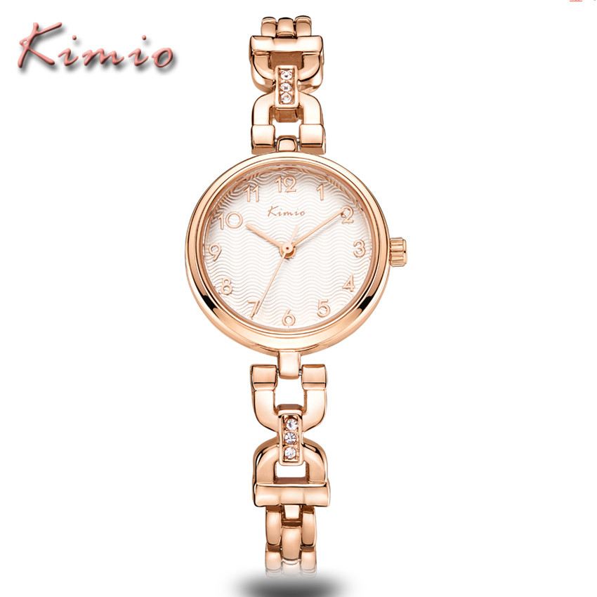 KIMIO Brand Bracelet Watches Women Reloj Mujer Luxury Rose Gold Business Casual Ladies Digital dial Clock Quartz Wristwatch Hot brand kimio reloj mujer fashion women pearl bracelet watches crystal dial quartz watch gold women watches relogio feminino clock