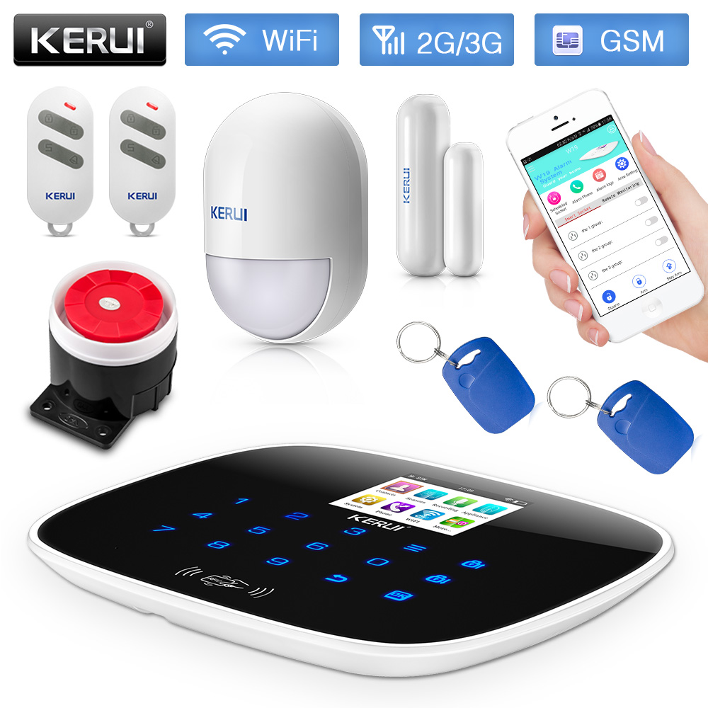 Kerui w193 wifi 3g gsm alarmanlage low power erinnern pstn rfid wireless smart home alarmanlage bewegungsmelder