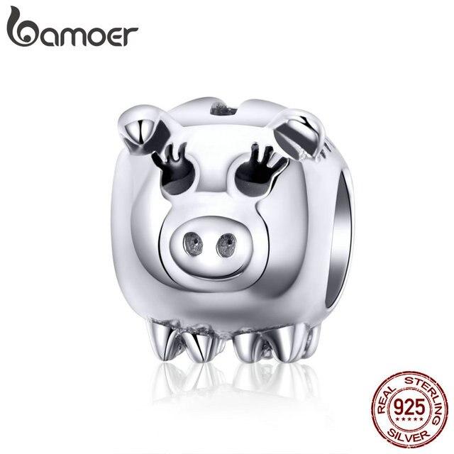 BAMOER 2019 Nova 925 Prata Esterlina Encantos Porco Piggy Sorte Beads fit para Encantos Pulseiras Jóias DIY Fazendo SCC1051