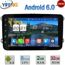 "4G Android 6 8 ""2 GB + 32 GB octa Core 2DIN coches reproductor de DVD Radios para Volkswagen passat Scirocco Tiguan Trak Racer Sharan multivan T5"