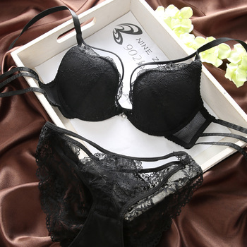 Summer w cup sexy lace bra thin young girl small women's push up underwear cutout bra set