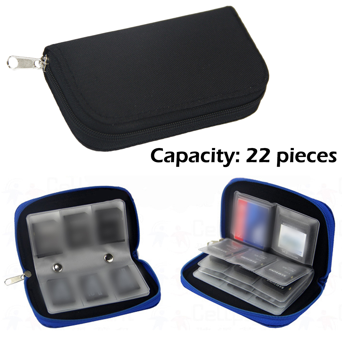 Black Nylon SD SDHC MMC CF For Micro SD Memory Card Storage Carrying Pouch Bag Box Case Holder Protector Wallet