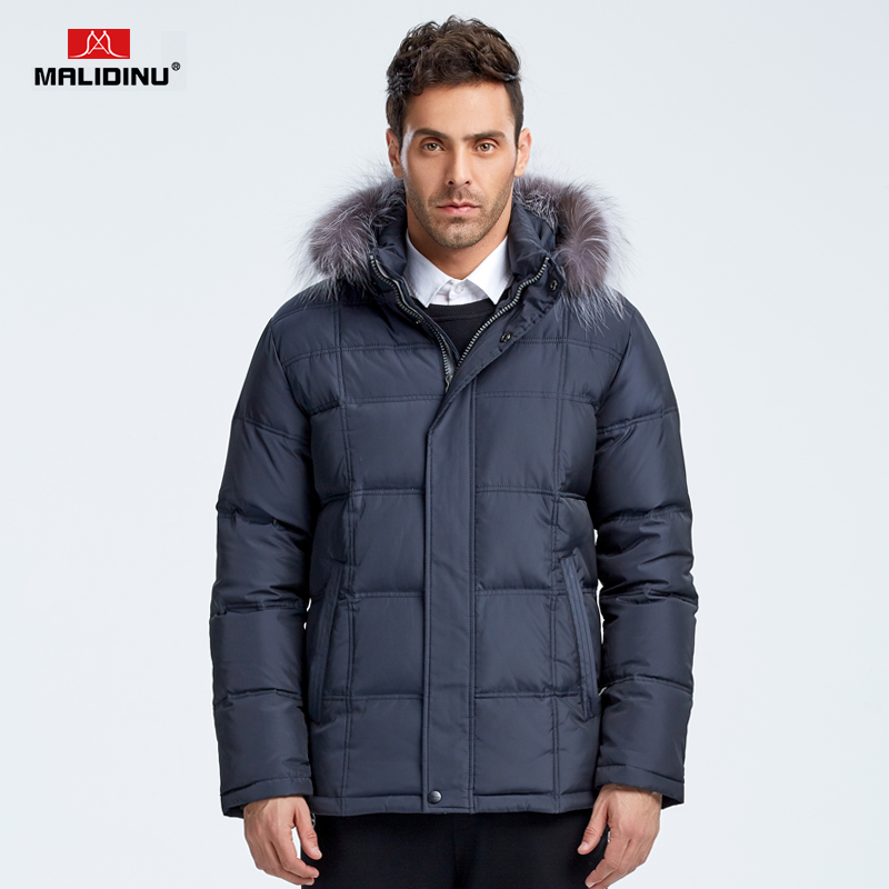 MALIDINU Brand New 2017 Winter Fur Collar Mans Thicken White Duck Down Jacket Coat Hood Parka European Size Free Shipping M11631 black hydraulic buffered rail track three drawer slide drawer slide ball bearing slide rail damping