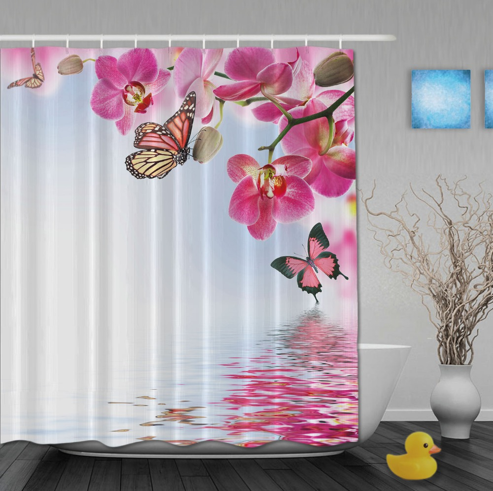 custom watercolor pink floral and butterfly chinese style shower curtains waterproof fabric with