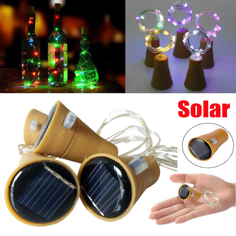 1M 1.5M 2M Solar Powered Fairy Lights LED Wine Bottle Light Sliver Wire Christmas String Lights For Outdoor Holiday Decoration
