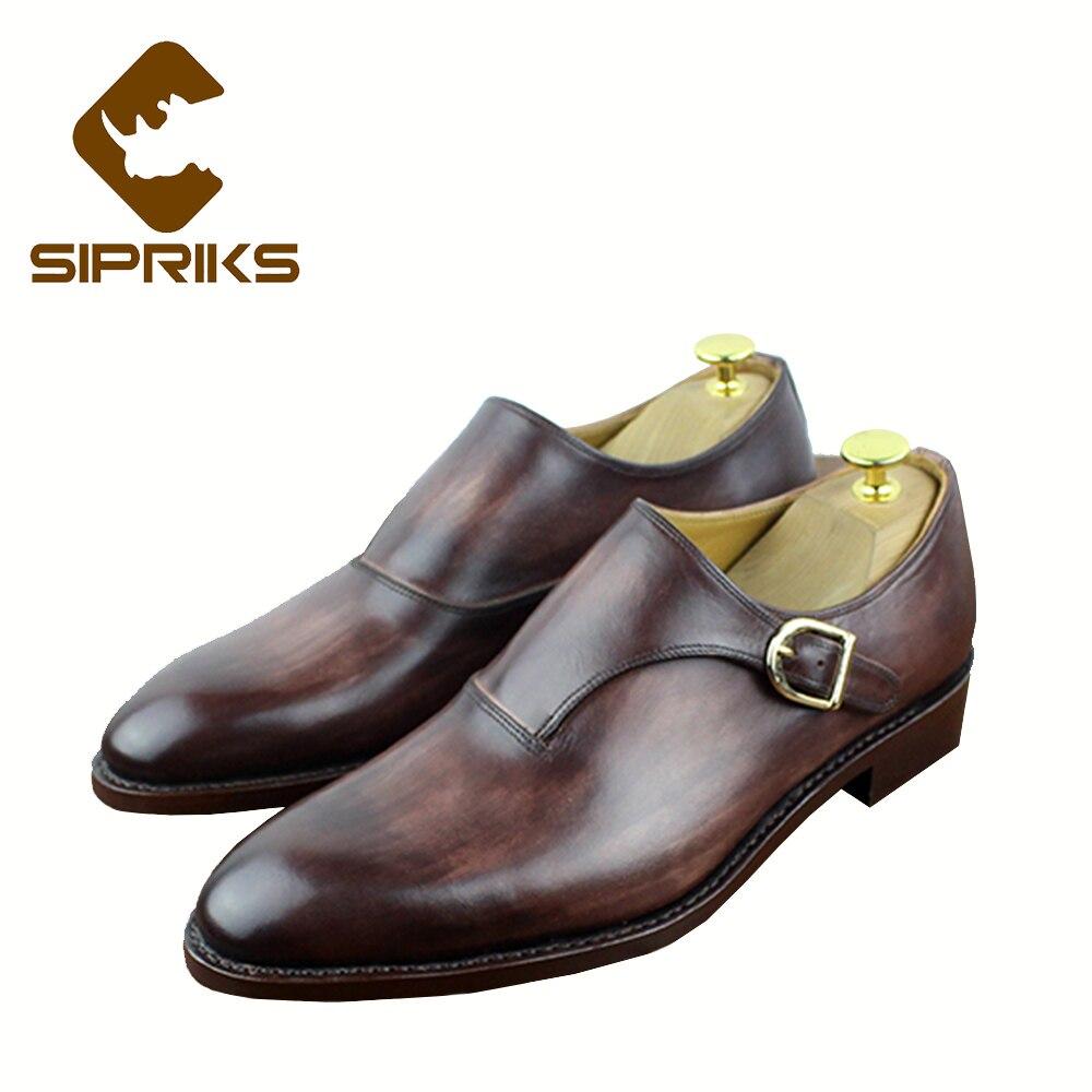 Sipriks luxe sur mesure hommes couture chaussures habillées soudées tan cuir patine chaussures simple moine sangle noir chaussures de mariage européen