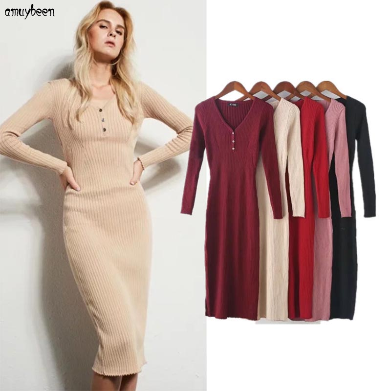 Pull robe femmes hiver 2017 printemps pull moulante enveloppement de bandage Slim col en v boutons coton Sexy Midi bureau tricoté robes