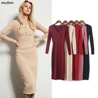 Sweater Dress Women Winter 2017 Spring Pullover Bodycon Bandage Wrap Slim V Neck Buttons Cotton Sexy