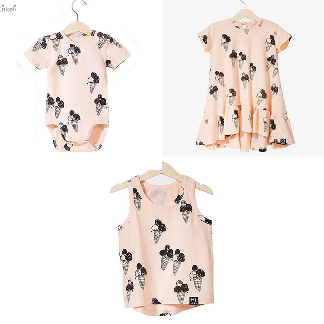437225688 EnkeliBB Clearance Brand CLothing For Kids Girls Ice Cream Dresses Baby Ice  Cream Romper Brother Sister Matching Twins Clothes