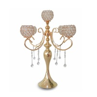 European elegant new tall 5 arms wedding rose gold crystal candelabra for wedding decoration centerpieces W8389
