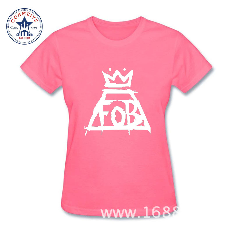 2017 New Fashion Funny Fall Out Boy FOB Cotton T Shirt for women