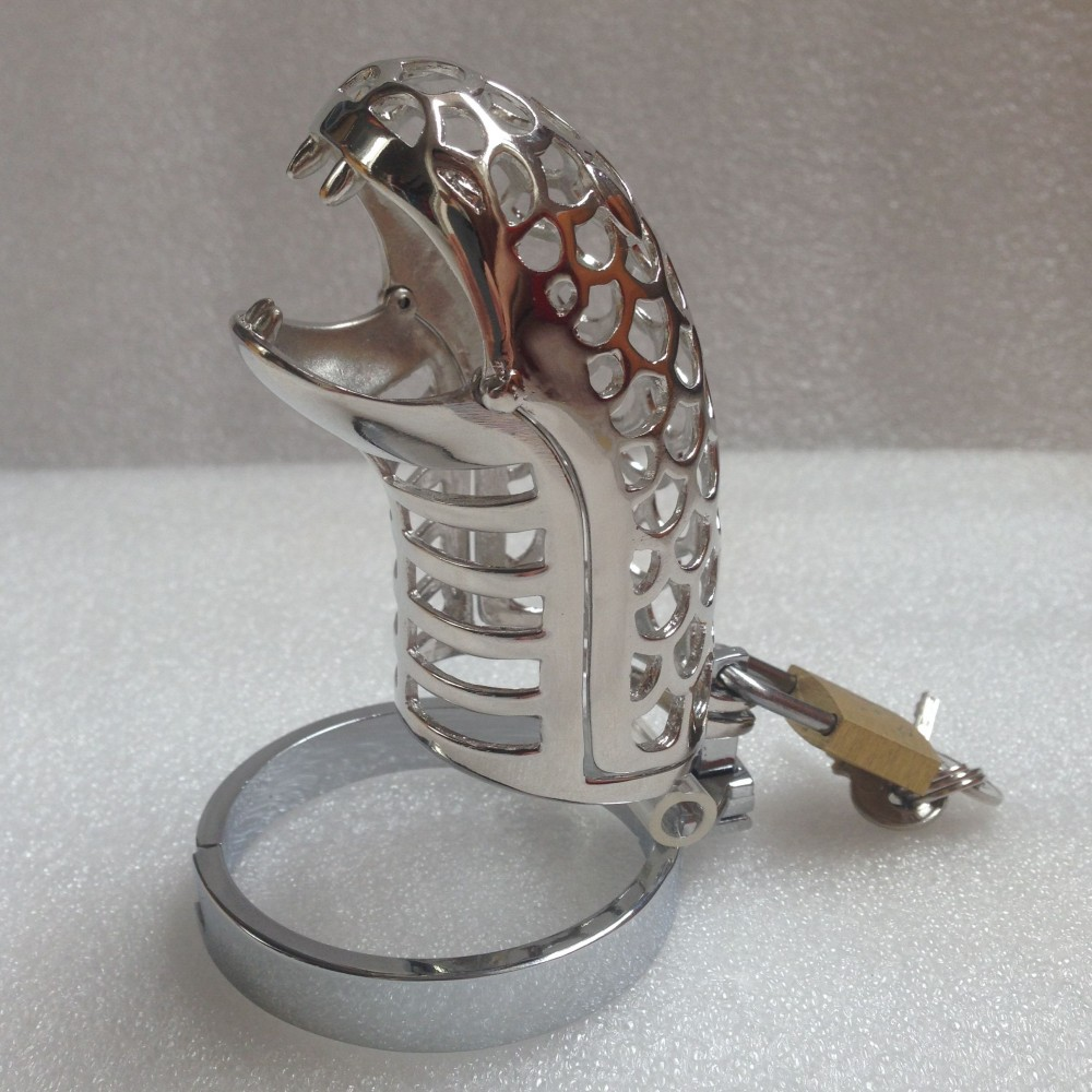 Loverkiss Snake Mouth Stainless Steel Chastity Cage Sex Toys for Men,Cock Ring Lock Penis Cage Male Chastity Device Sex Products wearable penis sleeve extender reusable condoms sex shop cockring penis ring cock ring adult sex toys for men for couple