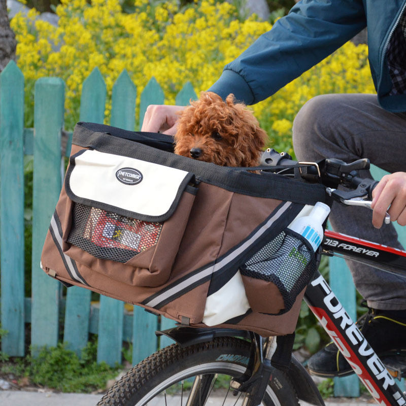 Portable Pet dog bicycle carrier bag basket Puppy Dog Cat ...