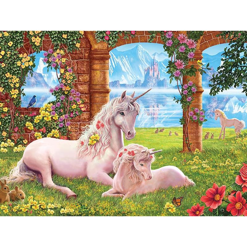 5d diy Diamond Painting Cross Stitch garden unicorn Square full Diamond Embroidery Diamond Mosaic Needlework Patterns JS248