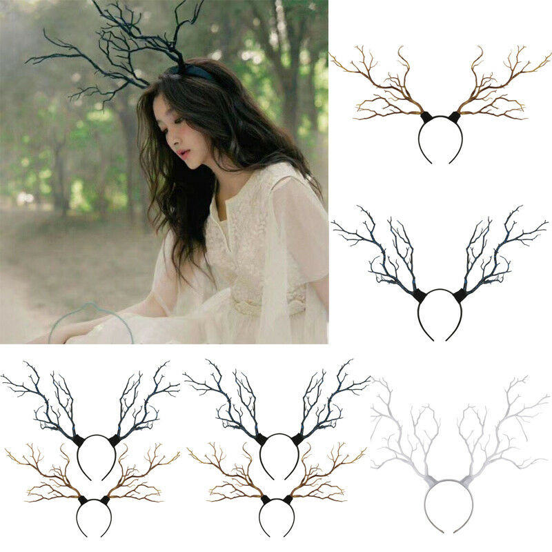 Christmas Party Reindeer Antlers Lovely Headband Cosplay Hairband Women Deer Horn Tree Branch Halloween Hair Hoop Headband New