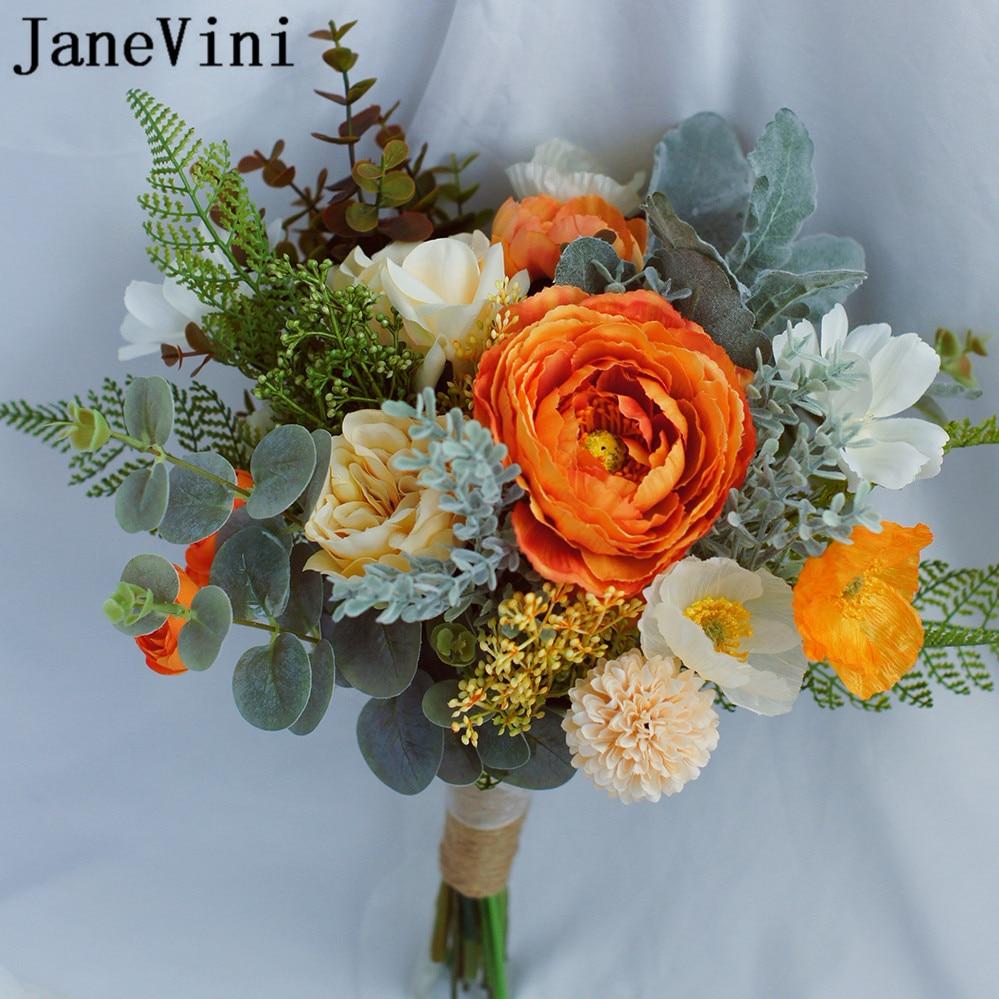 Www Afloral Com Silk Wedding Flowers: JaneVini Elegant Orange Silk Roses Bridal Flower Bouquet