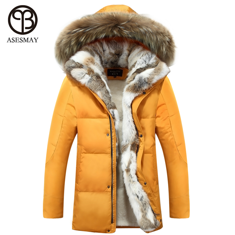 2016 New   Down     Coat   Long winter Jackets men Parka Hooded High Quality Warm Plus Size Duck   Down     Coat   Natural Fur Thick   Coat