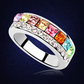 100% Austrian Crystal Form Swarovski Party Ring For Women Fashion White Gold Plated Female Wedding Ring Jewelry Wholesale