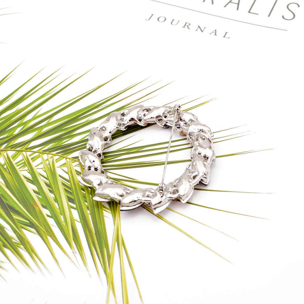 Cindy Xiang Kristal Lingkaran Bros untuk Wanita Pernikahan Bouquet Bros Pin Desain Baru Fashion Musim Panas Gaun Aksesoris Hadiah Yang Bagus