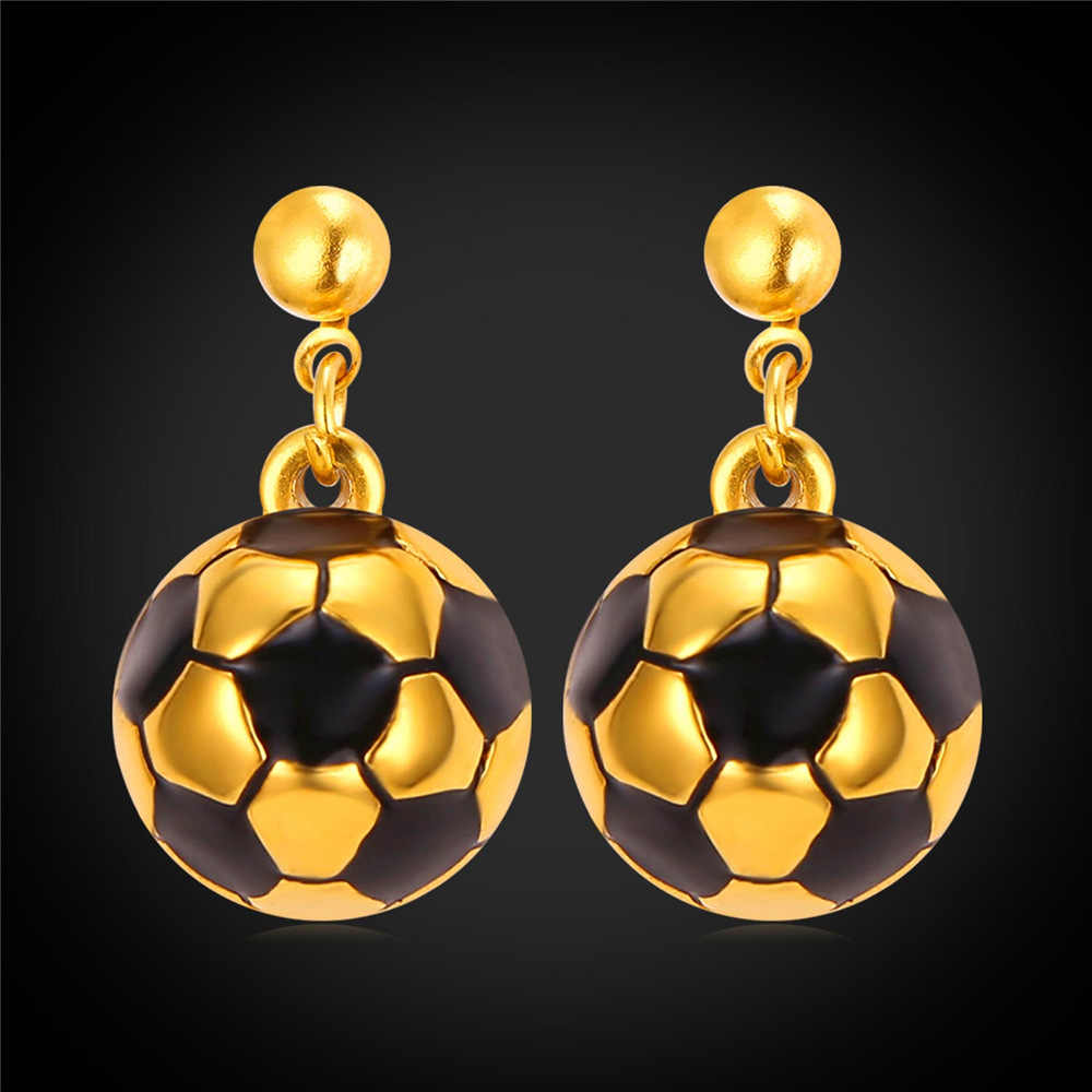 Gold Color Mini Football Soccer Sports Round Stainless Steel Drop Earrings for women Soccer ball on dangle earring E2299Y