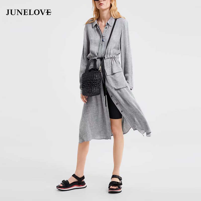 7844c357cd344 JuneLove Women Spring Long Sleeve Shirts Dress Vintage Lace-Up Female  Elastic Midi Dress Casual Street Wear Lady A-Line Dresses