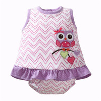 Baby Romper Animal With Dress Newborn Baby Rompers Cotton Ruffle Baby Girl Clothes Summer 2017 Owl