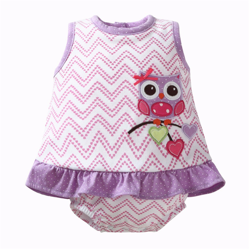 Baby Romper Animal with Dress Newborn Baby Rompers Cotton Ruffle Baby Girl Clothes Summer 2017 Owl Print Infant Jumpsuit Purple new 2 color remote control railway name rc train rail electric bullet train toy high speed rc toys car model road power children