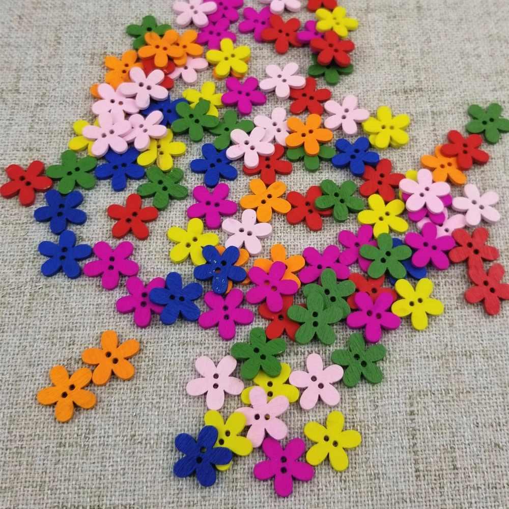 50/100 шт. 15 мм красочный цветок Flatback DIY деревянные пуговицы шитье Craft Скрапбукинг Новый