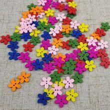 50/100 sztuk 15mm kolorowe kwiat Flatback DIY drewniane przyciski do szycia Craft Scrapbooking nowy