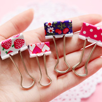24 Pcs Lot Kawaii Flower Fruit Metal Clips Cute Colorful Paper Photo Holder Office Accessories Clip