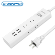 NTONPOWER Japan Plug Power Strip with USB Charger 4 Ports Smart Charging 6 AC Outlets Individual Switch   1.5M Extension Cord