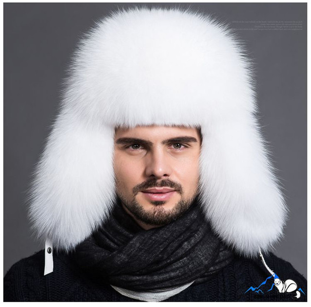 Russian Style Men Real Fur Hats Fox Bomber Hat  Outdoor Casual Raccoon Fur Middleaged Hombre Earmuffs Cap Winter Ear Flaps Hats
