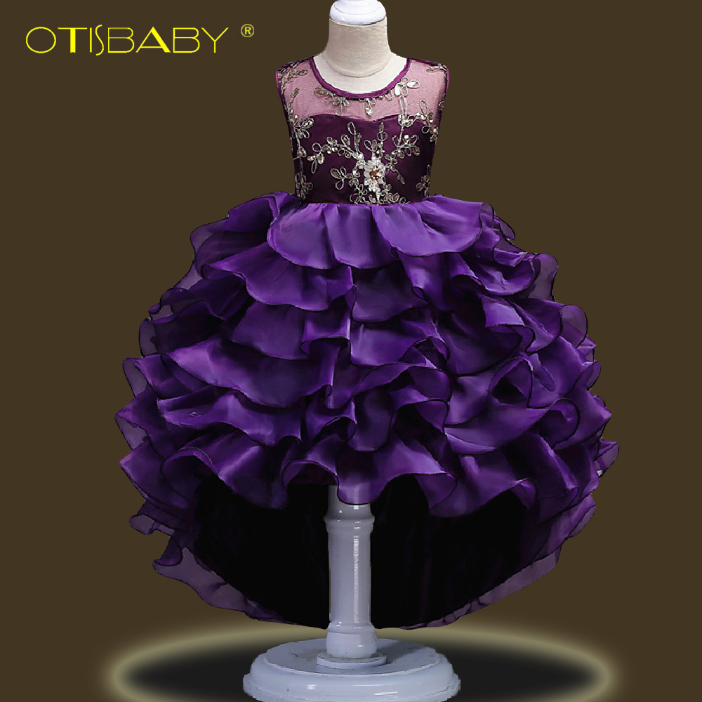 Fancy Children Elegant Dresses for Girls Teenagers Clothing Party Ball Gown Christening Layered Tutu Tulle Dress Peacock Costume-in Dresses from Mother & Kids