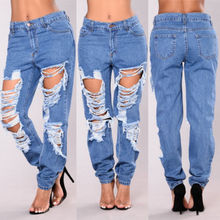 Hiirgin Casual Women's Plus Size High Waist Distressed Hole Ripped Full Length Blue Skinny Denim Jeans Size S-XXL